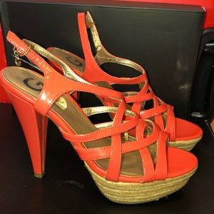 Peach Guess 6inch heel strapped heels